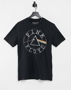 """Черная футболка с принтом """"Pink Floyd"""" Pull&Bear-Черный цвет"""