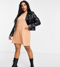 Платье-футболка песочного цвета Brave Soul Plus Xena-Светло-коричневый