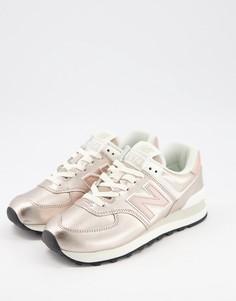 Розовые кроссовки металлик New Balance 574-Розовый цвет