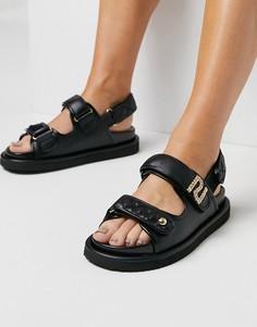 Черные стеганые сандалии вспортивном стиле на плоской подошве River Island-Черный цвет
