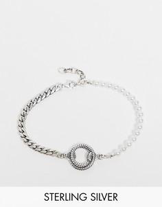 Комбинированный браслет-цепочка из стерлингового серебра с жемчужинами и подвеской в виде веревки Serge DeNimes-Серебристый