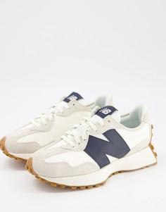 Кроссовки в белом и темно-синем цвете New Balance 327-Темно-синий