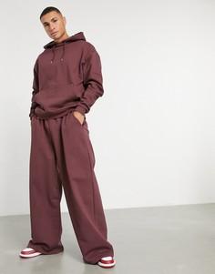 Бордовый oversized-спортивный костюм из худи и oversized-джоггеров с широкими штанинами ASOS DESIGN-Красный