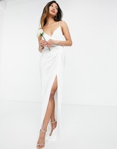 Атласное свадебное платье на бретелях сдрапировкой ASOS EDITION Rosanna-Белый