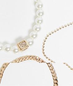 Набор из 3 золотистых браслетов с комбинируемым дизайном из цепочек и жемчуга ASOS DESIGN-Золотистый