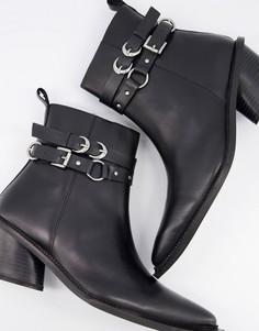 Черные кожаные ботинки челси в стиле вестерн на кубинском каблуке и с ремешками ASOS DESIGN-Черный цвет