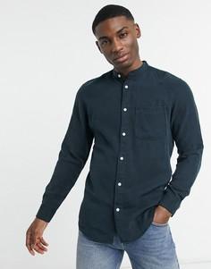 Приталенная рубашка пастельного оттенка с длинными рукавами Selected Homme-Темно-синий