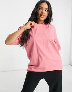 Футболка премиального качества приглушенного розового цвета с отделкой в рубчик и вышитым логотипом в тон adidas Originals-Розовый цвет