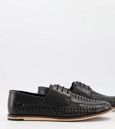 Черные кожаные туфли для широкой стопы на шнуровке с плетеной отделкой Silver Street-Черный цвет