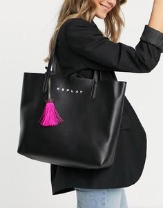 Двусторонняя черно-розовая спортивная сумка Replay-Многоцветный
