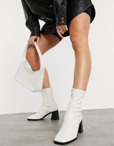 Белые ботинки из искусственной кожи на каблуке Monki Rooney-Белый