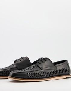 Черные кожаные туфли на шнуровке с плетеной отделкой Silver Street-Черный цвет