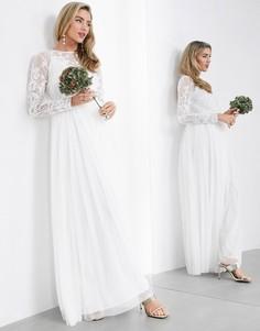 Свадебное платье макси с вышивкой ASOS EDITION-Белый