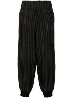 Yohji Yamamoto зауженные брюки Flash в полоску