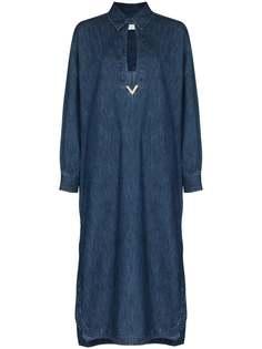 Valentino джинсовое платье с декором VGold