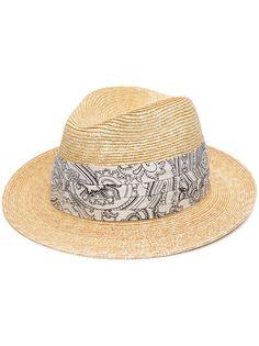 Etro соломенная шляпа с узором пейсли