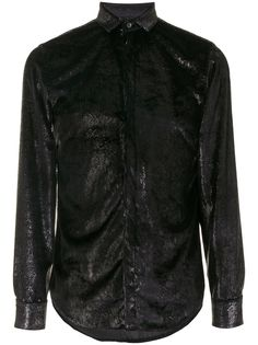 Emporio Armani фактурная рубашка с длинными рукавами