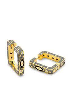 BUDDHA MAMA серьги-кольца Evil Eye из желтого золота с бриллиантами