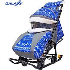 Санки коляска GALAXY SNOW LUXE Зимняя ночь Олени синие на больших мягких колесах+сумка+муфта
