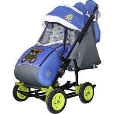 Санки-коляска SNOW GALAXY City-3-2 Мишка в зелёном на синем на больших надувных колёсах+сумка+варежки