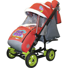 Санки-коляска SNOW GALAXY City-3-1 Совушки на красном на больших колёсах+сумка+варежки