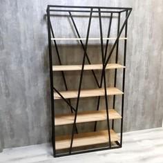 Стеллаж Akur Loft Stockton металлокаркас черный декор прозрачный лак