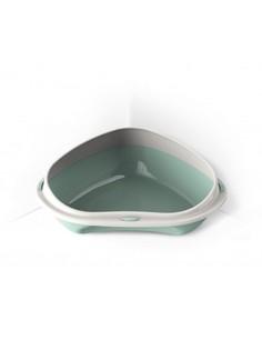 Лоток для кошек Georplast Shuttle 58х48х20,5 см пластиковый угловой с бортиком, зеленый