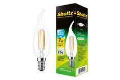 Светодиодная филаментная лампа Sholtz свеча на ветру 7Вт E14 4000К CA, CW 220-240В стекло