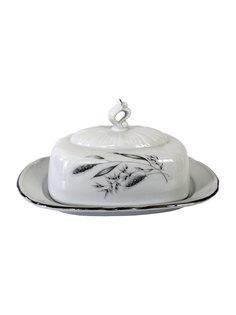 Масленка Constance, декор Серебряные колосья, отводка платина Thun 1794