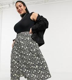 Юбка миди напуговицах с цветочным принтом и глубоким карманом ASOS DESIGN Curve-Многоцветный