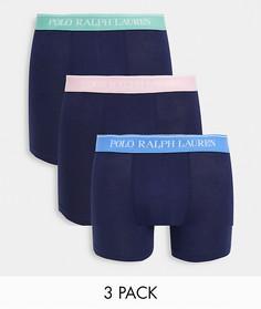 Набор из 3 боксеров-брифов темно-синего цвета с контрастным поясом Polo Ralph Lauren-Темно-синий