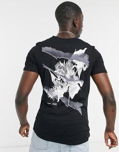 Черная oversized-футболка с принтом цветов на спине Jack & Jones Originals-Черный цвет