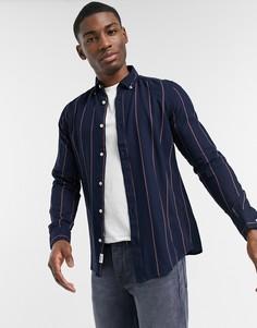 Темно-синяя рубашка из твила в полоску с длинными рукавами Only & Sons-Темно-синий