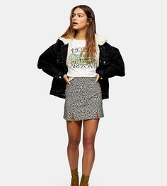 Мини-юбка из бенгалина с леопардовым принтом Topshop Petite-Многоцветный