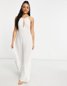 Эксклюзивное пляжное ярусное платье макси белого цвета Iisla & Bird-Белый