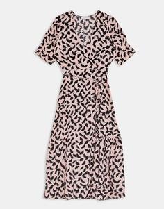 Розовое платье миди на пуговицах с запахом Topshop-Розовый цвет