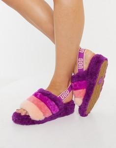 Слиперы ягодного цвета в полоску UGG Fluff Yeah Slide-Многоцветный
