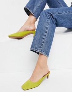 Кожаные зеленовато-желтые туфли на каблуке-рюмочке ASOS DESIGN Sunshine-Зеленый цвет