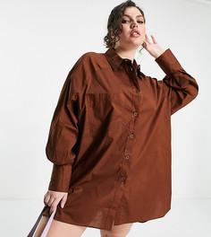 Платье-рубашка шоколадно-коричневого цвета в стиле oversized с объемными рукавами Threadbare Plus Size-Коричневый цвет