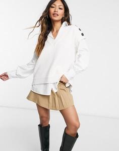 Кремовая рубашка с трикотажной жилеткой River Island-Белый