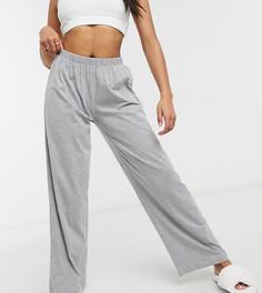Серые меланжевые пижамные брюки прямого кроя от комбинируемого комплекта ASOS DESIGN Petite-Серый