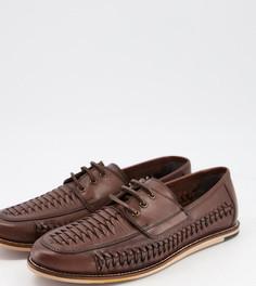 Коричневые кожаные туфли для широкой стопы на шнуровке с плетеной отделкой Silver Street-Коричневый цвет