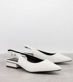 Белые туфли на плоской подошве сремешком через пятку дляширокой стопы RAID Wide Fit Kinjal-Белый