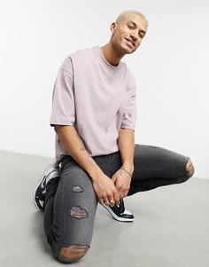 Плотная розовая футболка в стиле oversized с отделкой в крупный рубчик и рукавами до локтя ASOS DESIGN-Розовый цвет