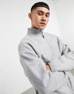 Серая меланжевая куртка из теплого флиса в стиле oversized (от комплекта) ASOS DESIGN-Серый