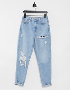 Светлые джинсы в винтажном стиле с рваной отделкой Topshop-Черный цвет