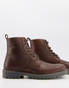 Коричневые кожаные ботинки сошнуровкой на массивной подошвой ASOS DESIGN-Коричневый цвет