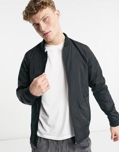 Черная легкая куртка-бомбер из нейлона Hollister-Черный цвет
