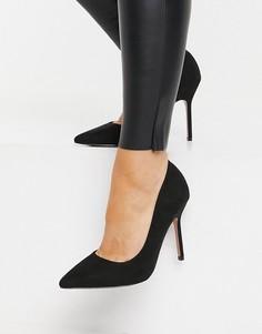 Черные остроносые туфли-лодочки навысоком каблуке ASOS DESIGN Phoenix-Черный цвет