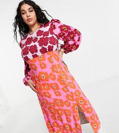 Платье миди сцветочным ретро принтом ипышными контрастными рукавами Never Fully Dressed Plus-Многоцветный